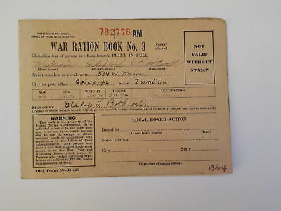 WWII Ration Book 1943 Griffith Indiana Barber WW2 World War Two Stamps VTG WW 2