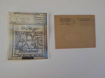 WWII V-Mail Valentines Day Greeting Card Cambridge Ohio WW2 398th Signal Co. Avn