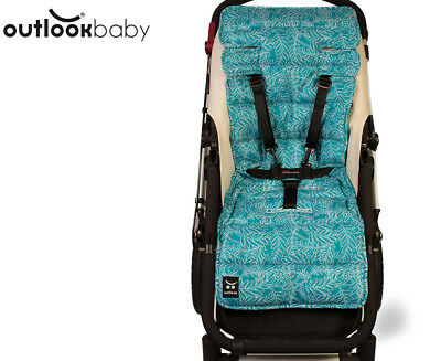 Outlook Cotton Pram Liner - Teal Fern Leaf