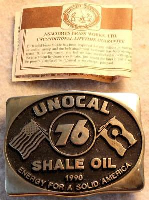 Original Unocal 76 Early Shale Oil Anacortes Brass Belt Buckle w/Guarantee NR