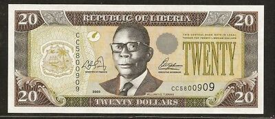 LIBERIA 20 dollars 2003 P28a UNC Willaim Tubman / crowd of people.
