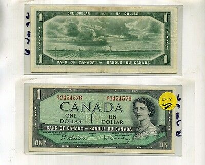 1954 $1 Canada Currency Note O-Y Series Au 6385E