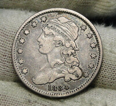 1834 Capped Bust Quarter 25 Cents - Nice Coin, Free Shipping. (6114)