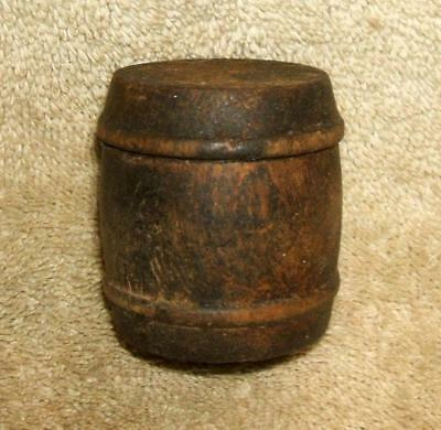 1800's Beeswax in Small Wooden Barrel Sewing Notion