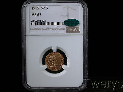 1915 Indian Head Gold $2.50 Quarter Eagle Ngc Ms 62 Cac