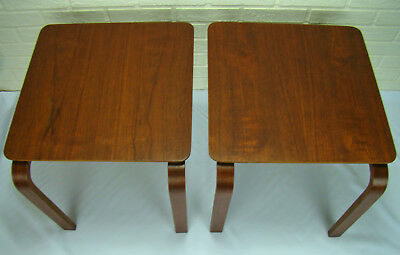 Mid-Century Danish Modern Walnut Molded Bent Ply Stacking Side End Tables