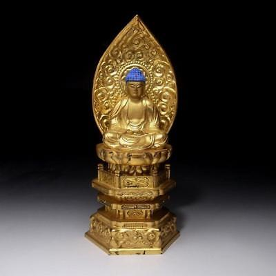 MA8: Vintage Japanese Lacquered Wooden Buddha Statue, Height 10.4 inches