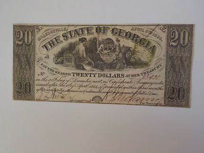 Civil War Confederate 1864 20 Dollar Bill Milledgeville Georgia Paper Money CSA