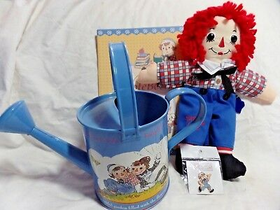 """Raggedy Ann & Andy Watering Can Tin 12"""" Applause Raggedy Andy Pin Note Book"""