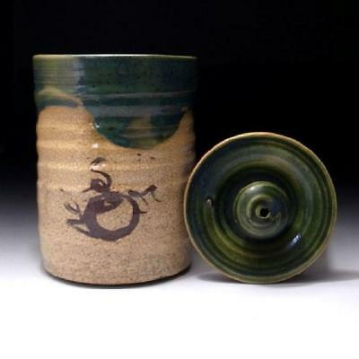 MM4 Vintage Japanese Tea Ceremony Mizusashi, Pottery Water Container, Oribe ware