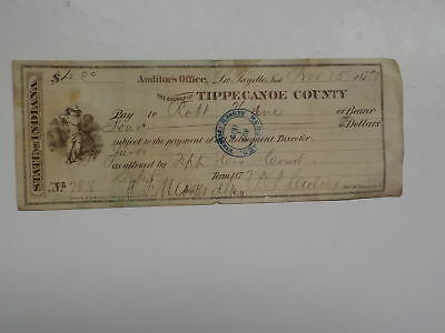 Antique Check 1877 Black White Boy Tippecanoe County Indiana Lafayette VTG