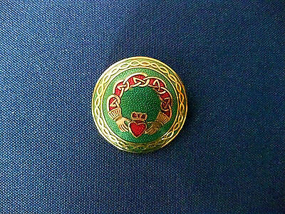Vintage Gold Tone Signed Celtic Sea Gems Enamel Brooch Claddagh Pin Ireland