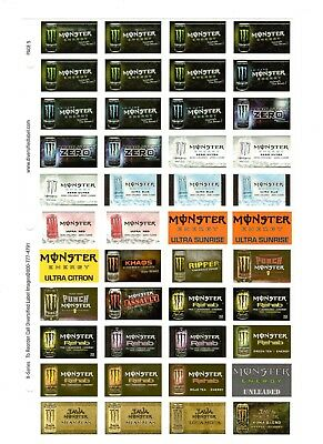 Coke Coca Cola Advertising Stickers  Sheet Of 44  Monster  Rehab Assault Java