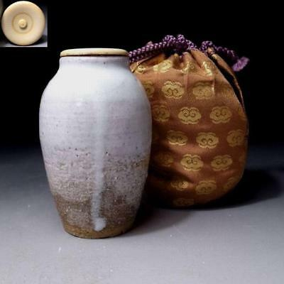 LC9: Vintage Japanese Tea Caddy with high-class lid, Hagi Ware with Cloth bag