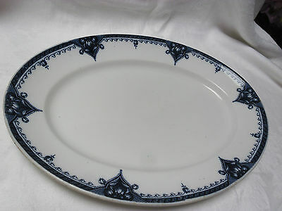 "ANTIQUE GIBSON & SONS ENGAND ""TULIP"" BLUE & WHITE MEAT SERVING PLATE Rd No.."