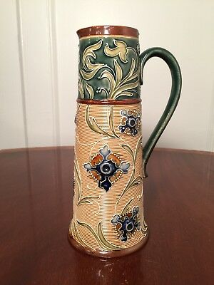 Antique 1800s DOULTON LAMBETH Pottery Jug Pitcher Artist-Signed Mark V Marshall