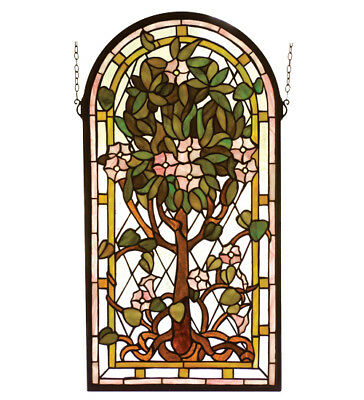 Arched Tree of Life Stained Glass Window