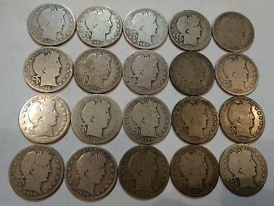 ROLL of 20 mixed dates average circulated Barber silver half dollars