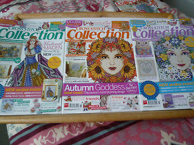 3 xCross Stitch Collection issues.219.220.227..medieval maiden..spring and autum