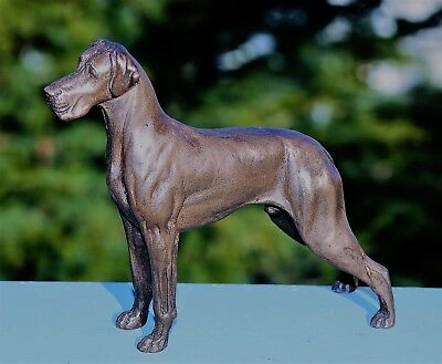 Great Dane (Natural Ears) Cold-Cast Bronze Figurine 6.5 Ins Long #63-074-1