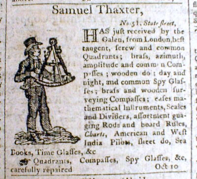 1807 Boston MASSACHUSETTS newspaper with an illustrated ad for a MARINE SEXTANT