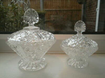 VINTAGE CLEAR CRYSTAL CUT GLASS Large & Small Lidded Trinket Pots DIAMOND/FAN vg