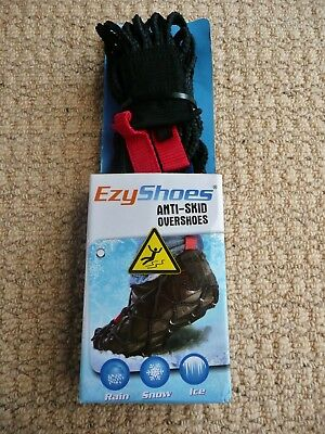 Mens Womens EzyShoes Black Anti-Skid Overshoes Shoe Grippers Large 7-10