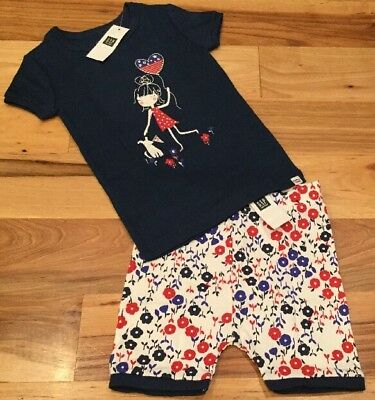 Baby Gap Girls Factory Size 6-12 Months Floral 2-Piece Shorts Pajamas. Nwt
