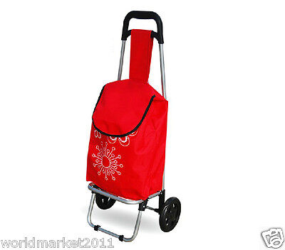 New Convenient Red Pattern Two Wheels Collapsible Shopping Luggage Trolleys