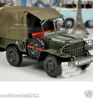 * United States Antique Army Green Metal Jeep Model/Decoration /Collection/Gift