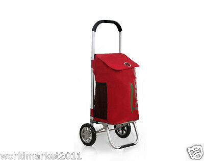 %H Convenient Red Pattern Two Wheels Collapsible Shopping Luggage Trolleys