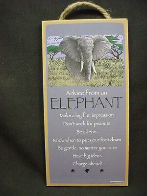 ADVICE FROM AN ELEPHANT Wisdom wood SIGN wall NOVELTY PLAQUE Safari zoo animal