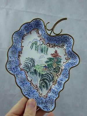Chinese Canton Enamel Leaf Dish / Tray Signed Pictorial mark - Mountain Scenes