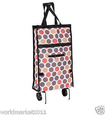 %H Convenient Browm Dot Pattern Two Wheel Collapsible Shopping Luggage Trolleys