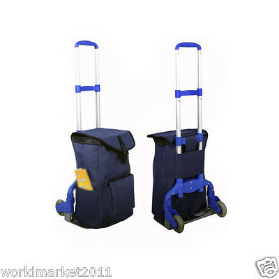New Blue Bag Two Wheels Convenient Collapsible Shopping Luggage Trolleys