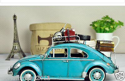 Retro Simulation L34.5*W13.5*H18.5CM Iron Blue Beatles Car Model/Model Adornment
