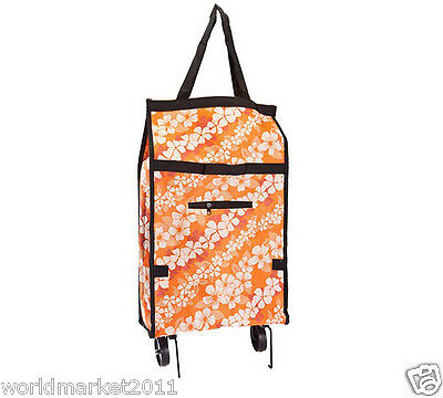 %H New Orange Flower Pattern Two Wheel Collapsible Shopping Luggage Trolleys