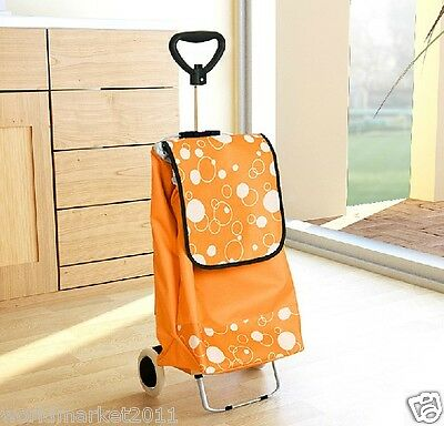 New Convenient Orange Pattern Two Wheel Collapsible Shopping Luggage Trolleys