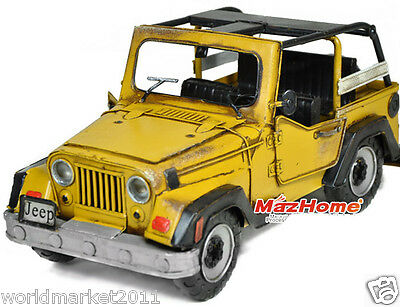 Retro L31*W14*H15CM Iron Yellow Willis Jeep Car Model/Background Props