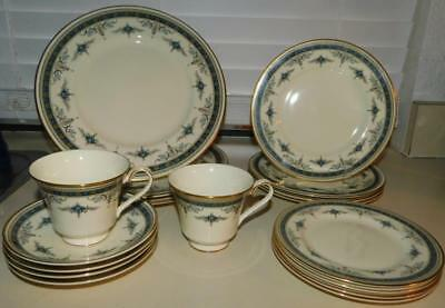 20 piece Minton Grasmere Blue Dinner Set for 4 English Bone China