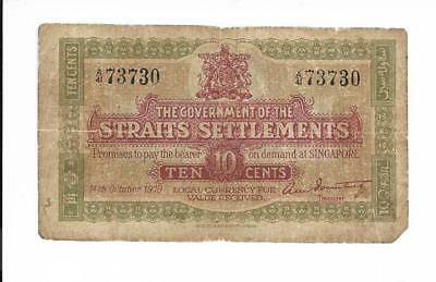 The Government of Straits Settlements - 10 Cents, 1919. Very Fine.