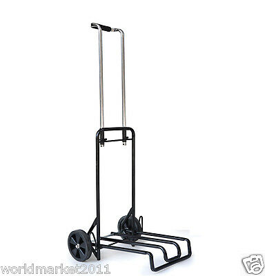 Steel Black Two Wheels Convenient Collapsible Shopping Luggage Trolleys