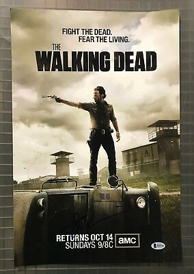 Andrew Lincoln Signed 12x18 THE WALKING DEAD Photo Beckett BAS Sticker ONLY