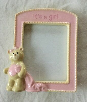 NEW Baby Gund Nursery It's A Girl Photo Frame Pink & Tan With Bear & Blanket