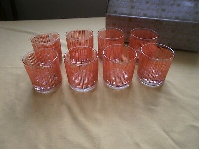 Set of 8 Georges Briard Orange  Icicle Double Rocks Old Fashioned Glasses