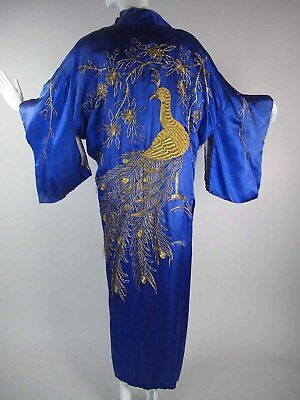 Vintage Japanese Silk Kimono Robe With Couched Gold Metallic Embroidery Peacock