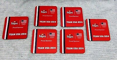Set 6 Folgers Olympics Team USA 2014 Proud Sponsor Red Rubber Coasters FREE S/H