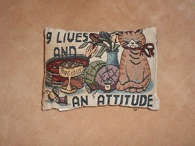 Cat Lovers Decorative Pillow, 9 Lives And An Attitude