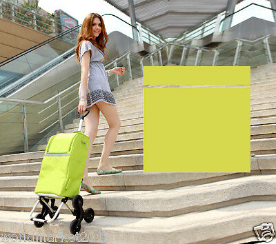 New Convenient Green Pattern Six-Tire Collapsible Shopping Luggage Trolleys