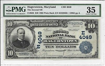 USA, Natonal Banknote, Hagerstown, Maryland - $10, 1902. PMG 35. Handsigned.